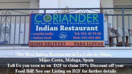 Coriander Indian Restaurant, La Cala de Mijas, Mijas Costa, Malaga, Spain